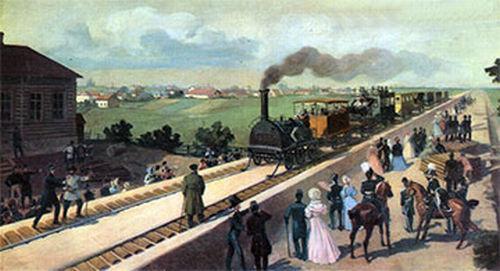 Первый пассажирский поезд на Царскосельской железной дороге
