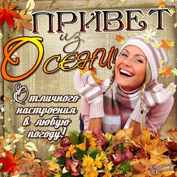 Привет из осени! Отличного настроения в любую погоду! открытки фото рисунки картинки поздравления