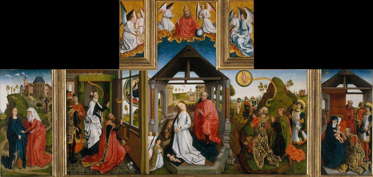 «Рождество». Середина 15 века. Дерево, темпера, масло.  151,8 х 274,3 х 49,5 cm.