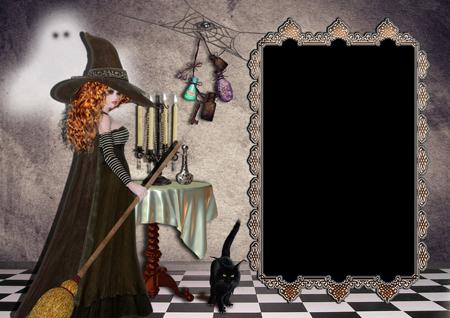 Рамка для фото с рыжей ведьмой в шляпе с метлой около стола со свечами и снадобьями и привидением на стене