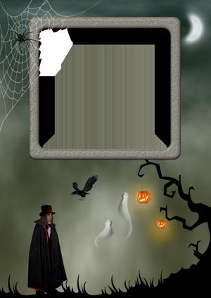 Фоторамка с вампиром в плаще у черного дерева с тыквами в ночном лесу и двумя привидениями