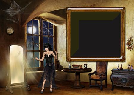 Фоторамка с ведьмой в комнате старинного замка около зеркала с привидением
