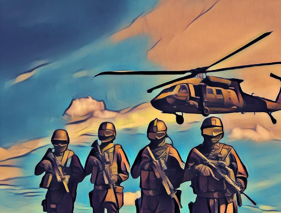 солдаты и вертолет