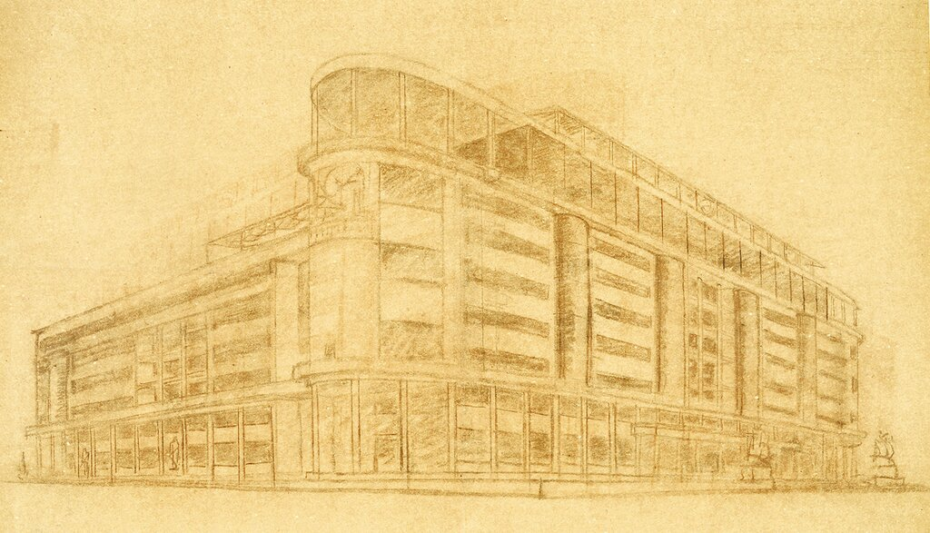 Здание СТО в Охотном Ряду. Неосуществленный конкурсный проект А.А., В.А. и Л.А. Весниных. 1933 год.jpg