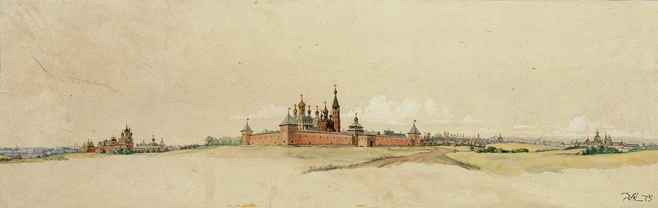 Панорама восточной линии монастырей-сторож с Рязанской дороги в 17 веке..jpg
