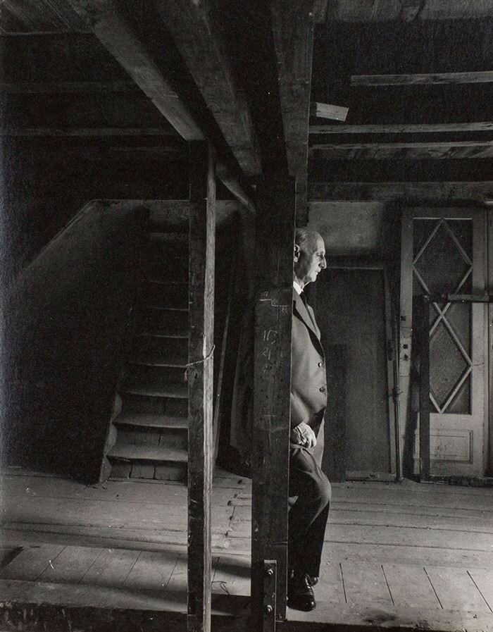 Otto Frank, Anne Frank's father and only surviving family member, revisiting the attic; May 3rd, 1960..jpg