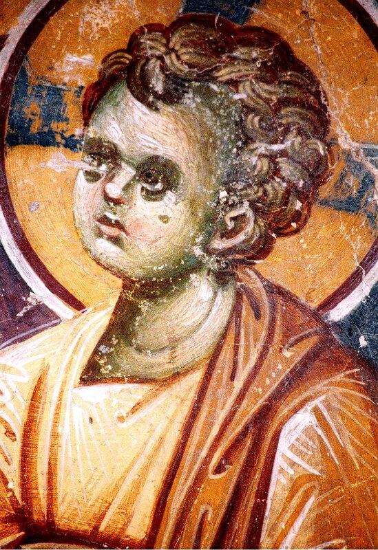 Пресвятая Богородица с Младенцем. Фреска церкви Святых Иоакима и Анны (Королевской церкви) в монастыре Студеница, Сербия. 1314 год. Фрагмент.