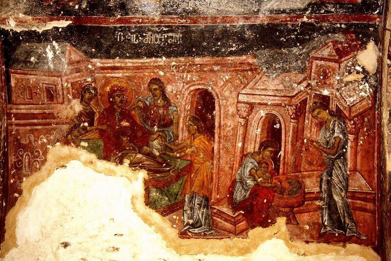 Рождество Пресвятой Богородицы. Фреска монастыря Дирби, Грузия. XIII - XIV вв.