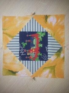 """Лоскутное шитьё № 8:  блок """"Ромб в квадрате"""", подушечка для булавок"""