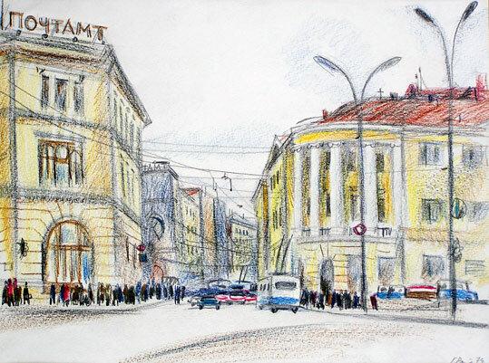 Герман Львович Ратнер. Тургеневская площадь. 1974