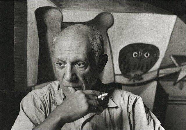 Pablo Picasso in his studio, Paris, France