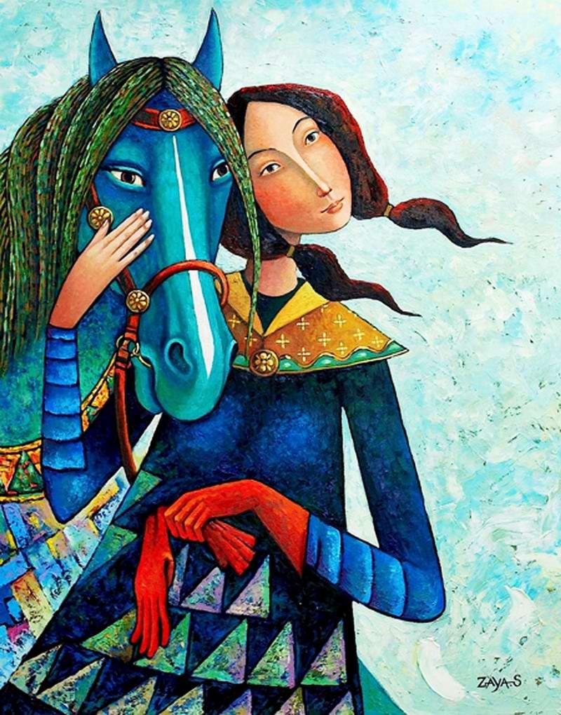 Девушка с зеленогривым конем