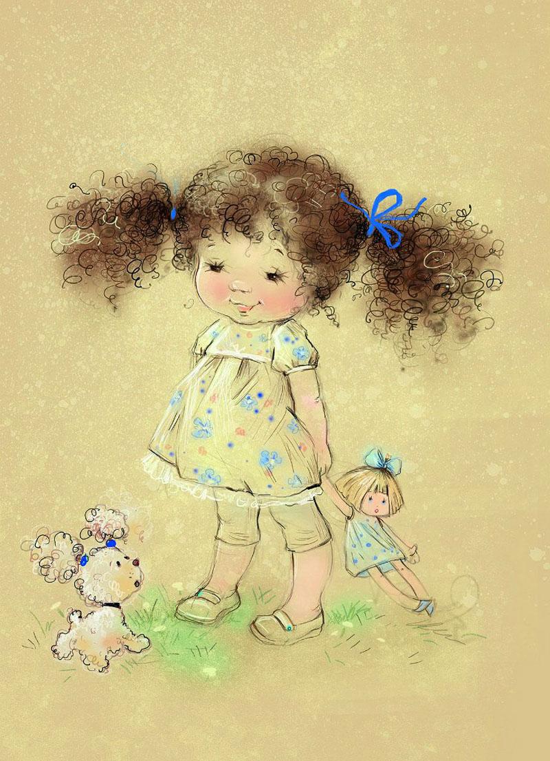 Кудрявая девочка открытка