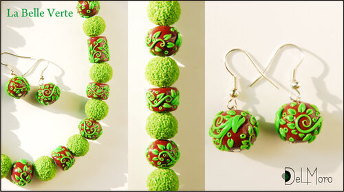 La Belle Verte - beads and earrings set