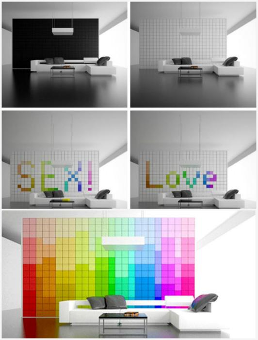 Трансформирующаяся пиксельная стена. Уникальна пиксельная стена от дизайнера Amirko способна навсегд