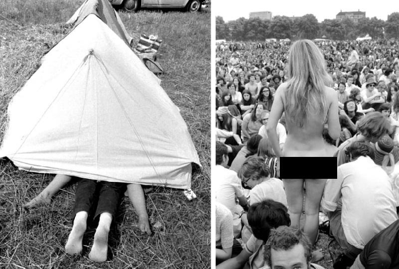 Группа хиппи, фестиваль Вудсток, 1969 год.