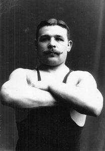 Портрет борца, участника чемпионата, Шнейдера.