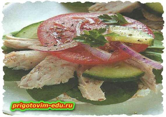 Тосты с тунцом и овощами