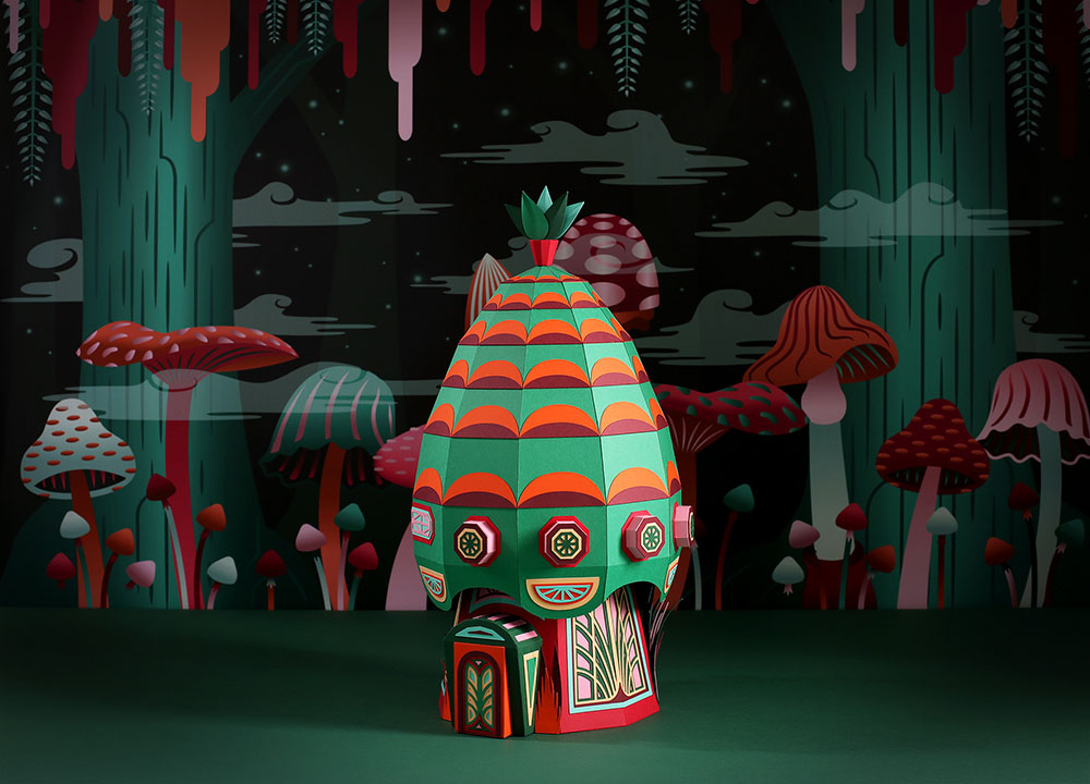 Colorful Paper Village Installations for Hermes by Zim & Zou