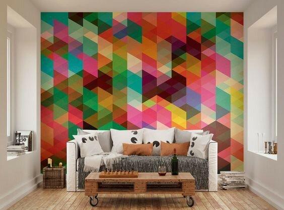 Многоцветный дизайн стен