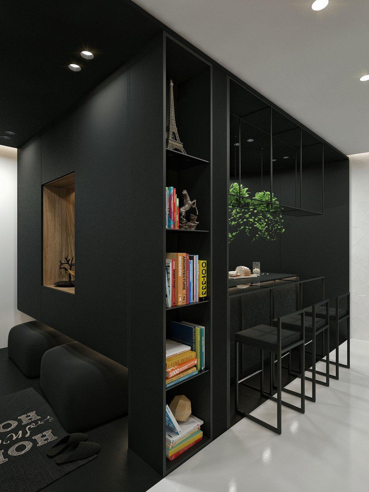 Черная мебель в интерьере квартиры