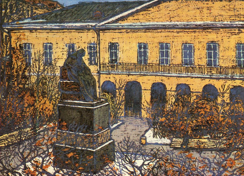 587130 Суворовский бульвар. Памятник Гоголю во дворе дома №7.jpg