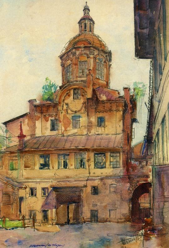 Собор Заиконоспасского монастыря. 1701-1709 гг. Рисунок 1947 г..jpg