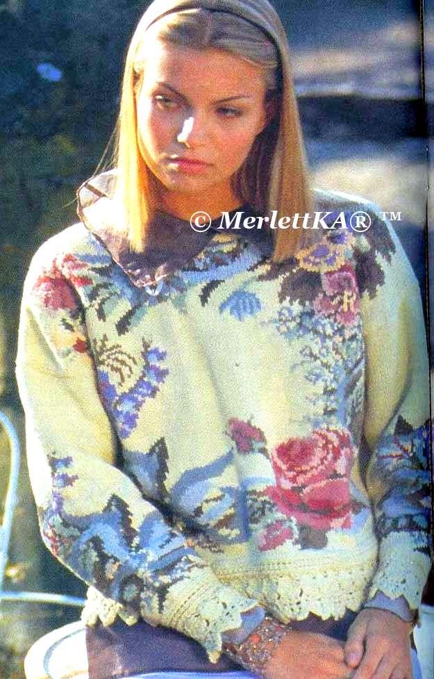 пуловер с розами крючком