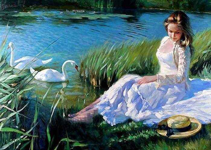 Девушка и лебеди.
