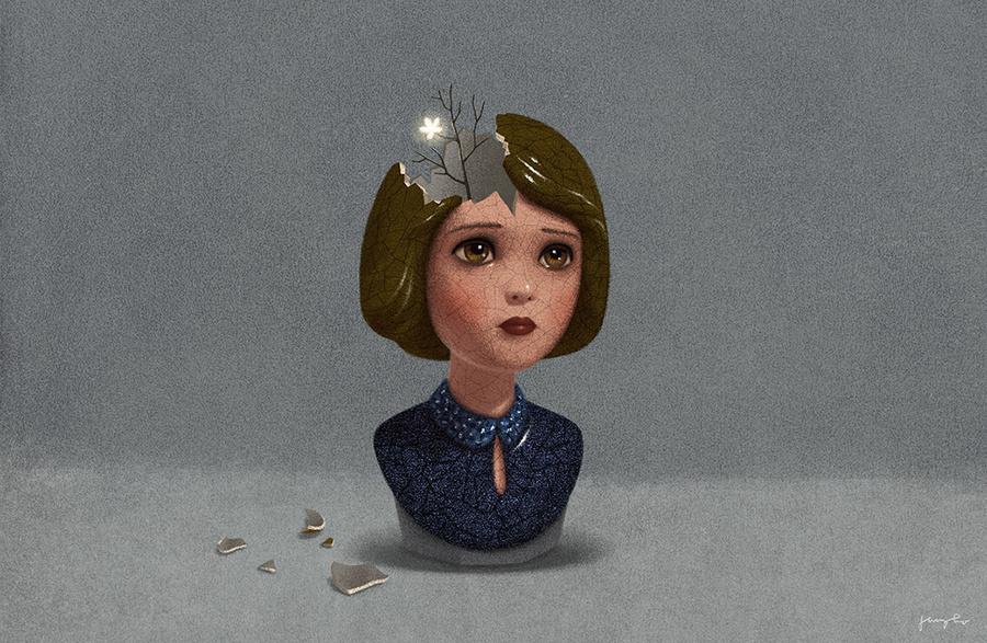Сюрреалистические метафоры для книг в иллюстрациях Джунго Ли
