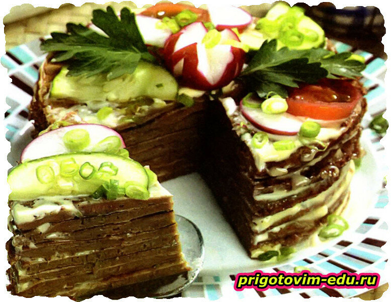 Закусочный печеночный торт «Король вечеринки»