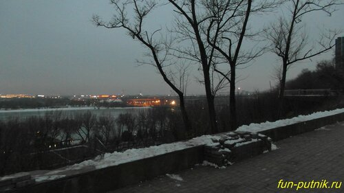 Зимняя прогулка по набережной Ростова, вид н Дон с высоты