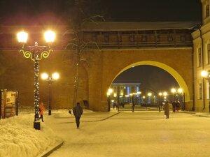 Кремль в свете фонарей - Новый год в Великом Новгороде