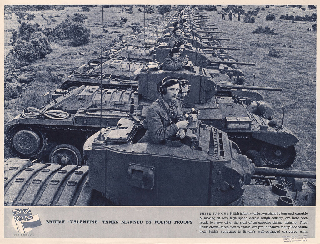British 'Valentine' tanks manned by Polish troops. (Valentine Mark III tanks of the 2nd Battalion, 1st Tank Regiment (1st Polish Corps) lined up during exercise in Scotland. Photograph taken during General Alan Brooke's visit to the Scottish Command, 21 A