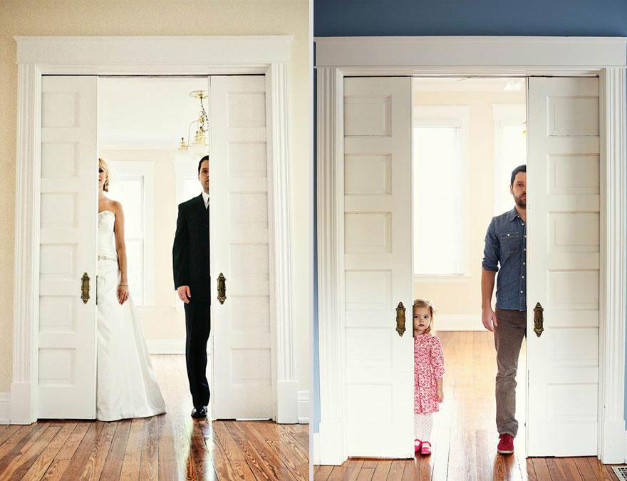 1. Бен Нанери и его дочурка Оливия воссоздали эти фото со дня свадьбы Бена и Али, чтобы попрощаться