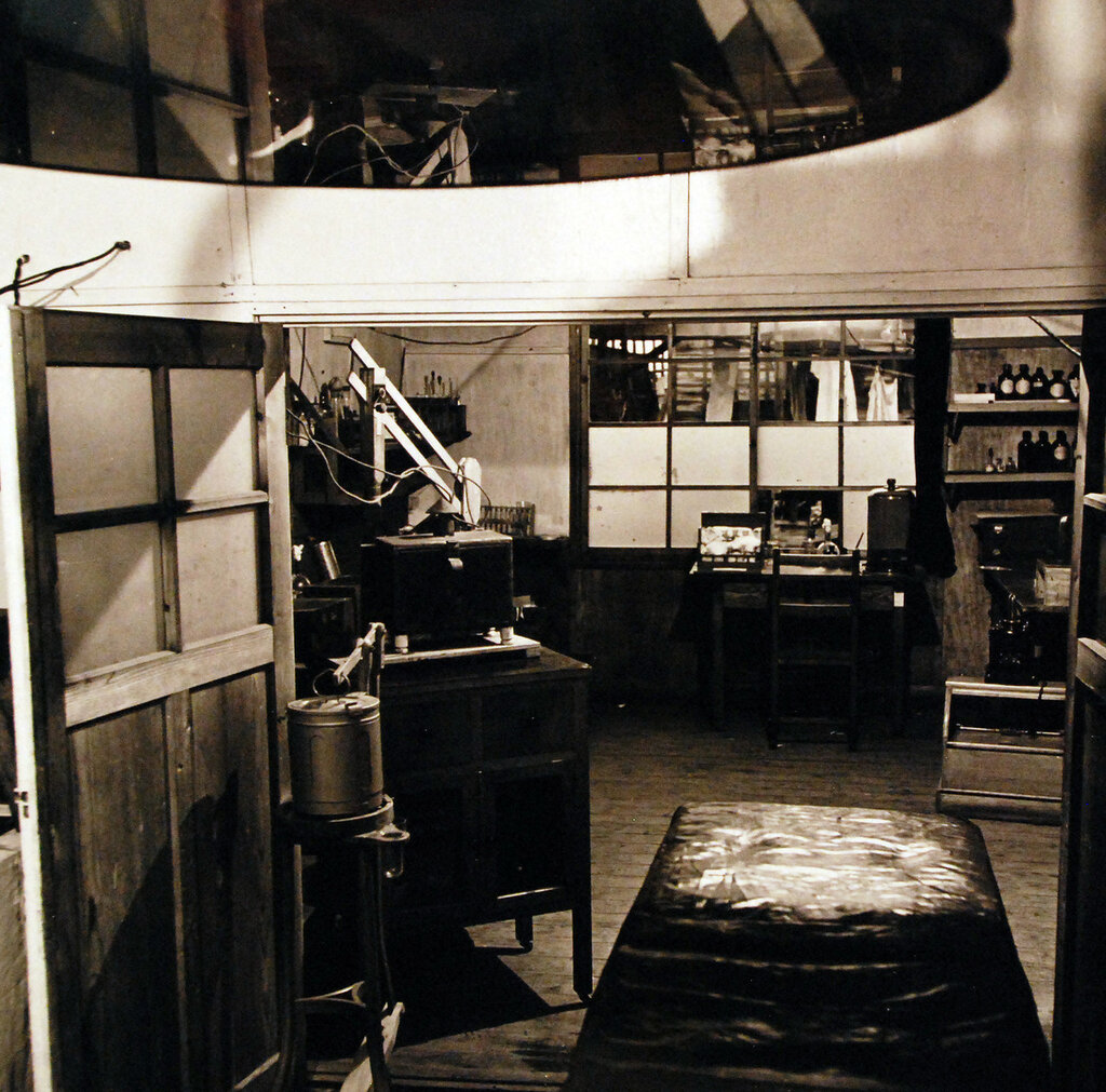 Shinagawa Hospital in Tokyo. Shown is the microscope room which was dirty and poorly equipped. September 1945