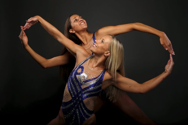 Synchronized swimming duet Anita Alvarez (L) and Mariya Koroleva pose for a portrait at the U.S. Oly