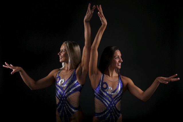 Synchronized swimming duet Anita Alvarez (R) and Mariya Koroleva pose for a portrait at the U.S. Oly