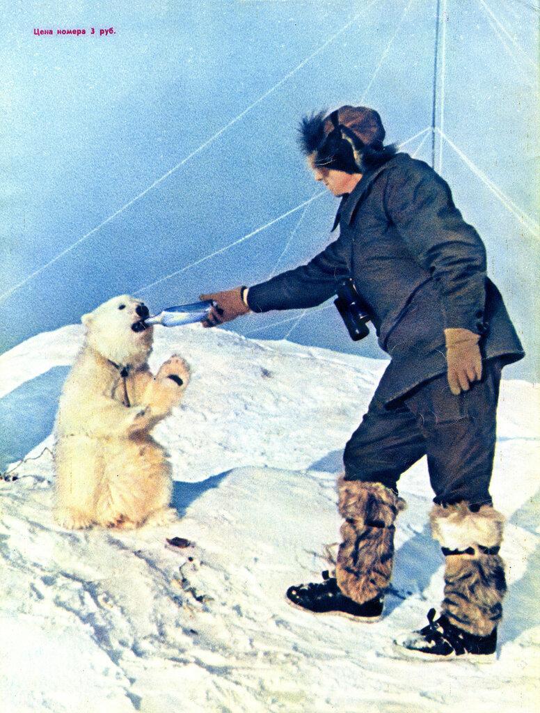 1955-46  врач Алексей Гаврилин и медвежонок Огонек на СП 5.jpg