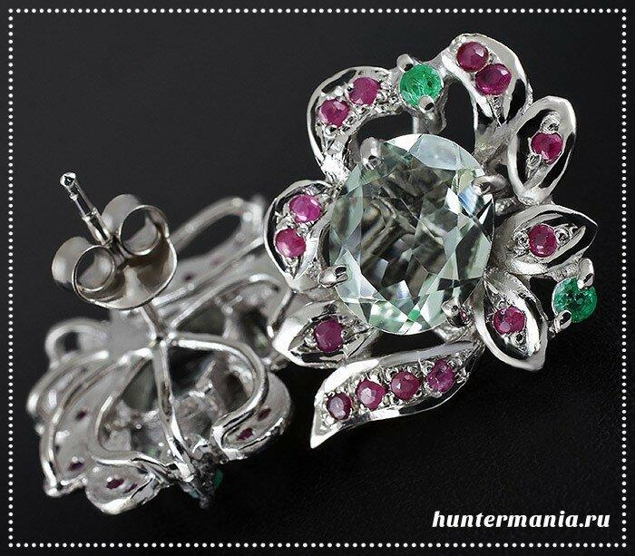 Серебряные украшения с аметистом и изумрудом