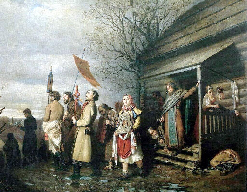 Василий Григорьевич Перов: Сельский крестный ход на Пасхе. 1861 Х. , м. 71. 5x89 ГТГ