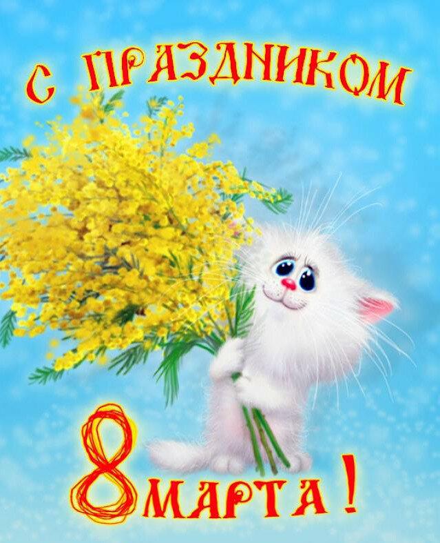 Поздравление с 8 марта с кошкой