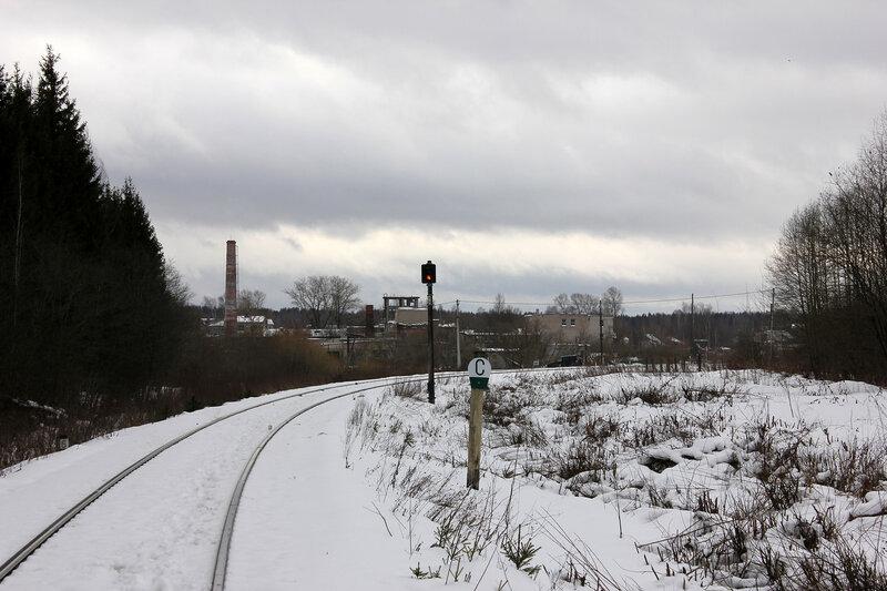 Перегон Белый городок - Калязин пост, участок Белый городок - 151 км, предупредительный сигнал станции Белый городок ПН со стороны Сонково