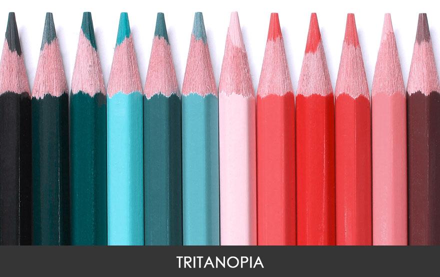 Людям с тританопией весь мир кажется розовато-зеленоватым. Это очень редкая форма цветослепоты, кото