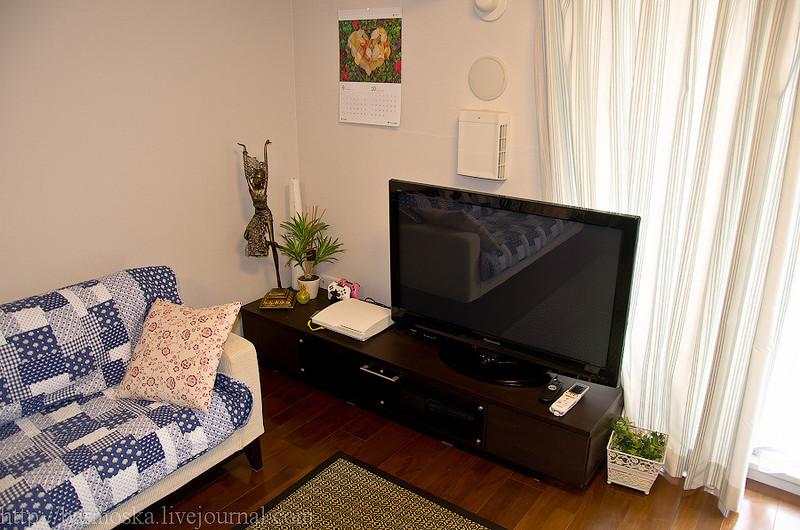 На стене позади телевизора люки приточной и принудительной вентиляции. Воздух в квартире очень чисты