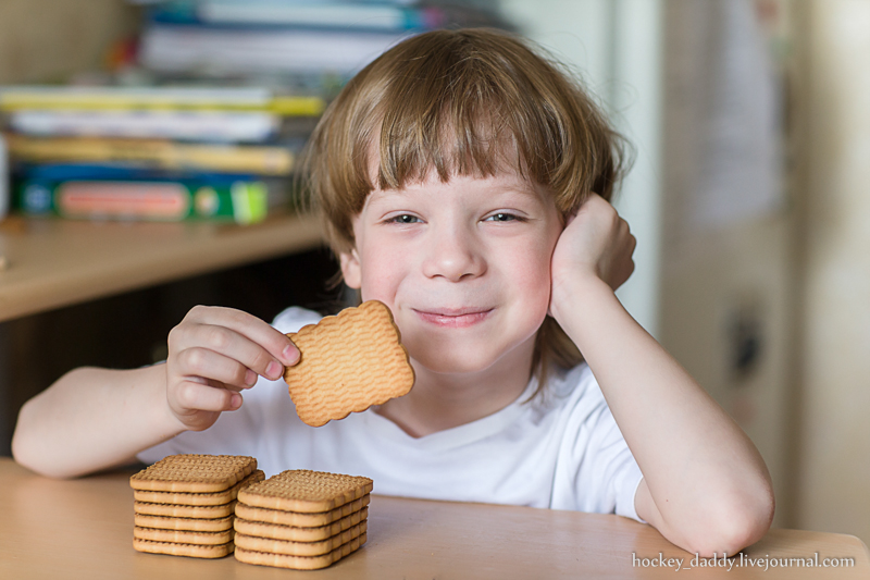 child eating cookies