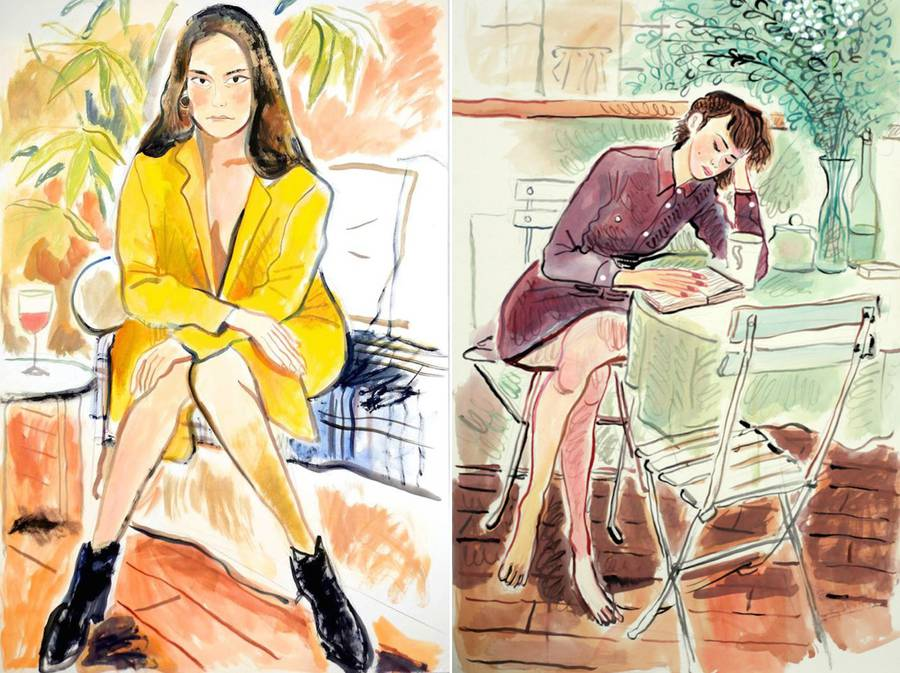 Drawings of People in Sofas by Louis Thomas