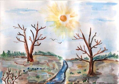 Весенний денек - Гаркуша Анна, 5 лет, Тема -- Рисунок, х. Старая Станица (Каменский р-н).jpg