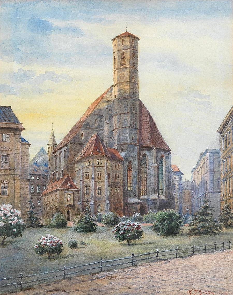 Karl Wenzel Zajicek(Wien 1860-1923) Die Minoritenkirche in Wien