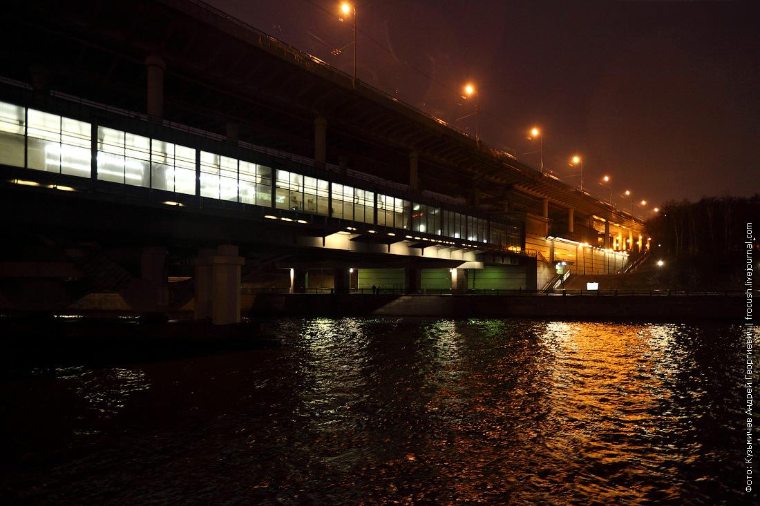 ночное фото Лужнецкий метромост